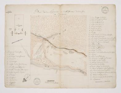 Musée de la civilisation, fonds d'archives du Séminaire de Québec. Plan de la Seigneurie et Etablissemens de la Mission des Tamarois (Illinois) 1735, par Mercier, J.P., ptre , (L-43)