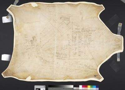 Musée de la civilisation, fonds d'archives du Séminaire de Québec. Haute et Basse-Ville de Québec (Fief Sault-au-Matelot), 1750, par : Lemaistre-Lamorille, François  Manuscrit sur peau, 86,4 cm x 61 cm, (SME-44)