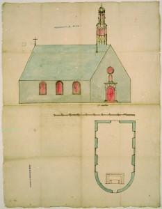 Musée de la civilisation, fonds d'archives du Séminaire de Québec. Plan d'Église par Mr Jean Maillou, vers 1715.. (Z-160)