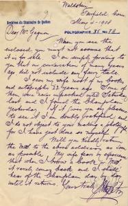 Musée de la civilisation, fonds d'archives du Séminaire de Québec, Lettre de James Osborne Wright à Philéas Gagnon, 4 mai 1908, Polygraphie 35, no. 7a.
