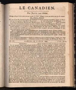 Musée de la civilisation, bibliothèque du Séminaire de Québec. Le Canadien. Québec. Vol. 3, no 31 (17 juin 1809), p. [126]. No 736.1.4