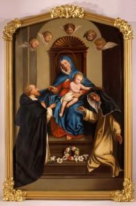 Eugène Hamel.  La Vierge du Rosaire, vers 1900.  Huile sur toile.  Musée de la civilisation, don des sœurs de la Charité de Québec.  Photo Jacques Caron, Sœurs de la charité de Québec.