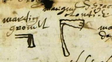 Les marques de Martin Grouvel et Zacharie Cloutier, charpentiers.