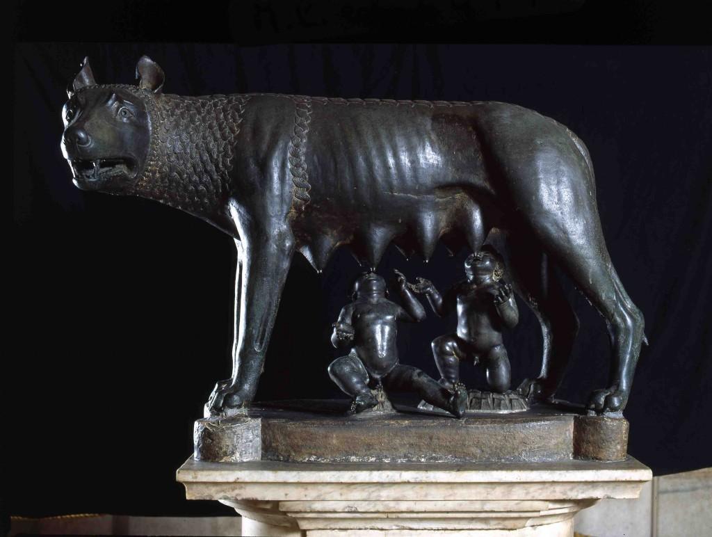 La louve du Capitole nourrissant Remus et Romulus. Musées Capitolins.