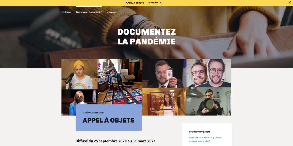 Capture d'écran de la section «appel à objets»du site Une heure au Musée.