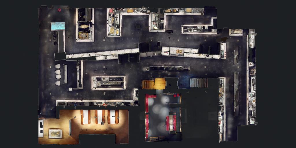 Capture d'écran d'une vue en plongée d'un relevé 3D de la salle d'exposition «Le temps des Québécois»