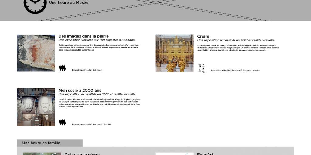 Capture d'écran d'une ébauche du site Une heure au Musée, tel qu'envisagé durant la première semaine de la pandémie.