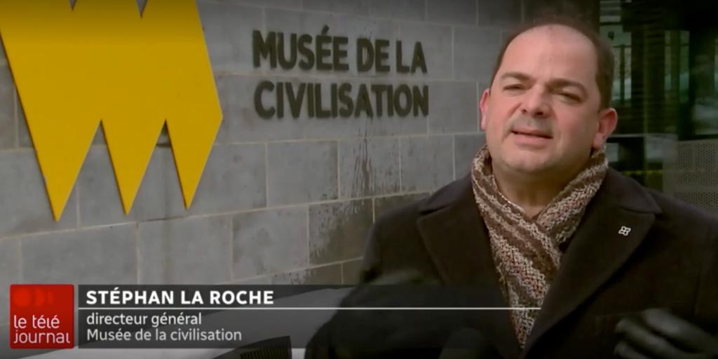 Capture d'écran d'une entrevue du directeur général du Musée, Stéphan La Roche, au Téléjournal d'ICI Québec.