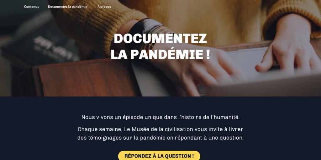 Capture d'écran de la section «Documentez la pandémie!» du site internet Une heure au Musée.