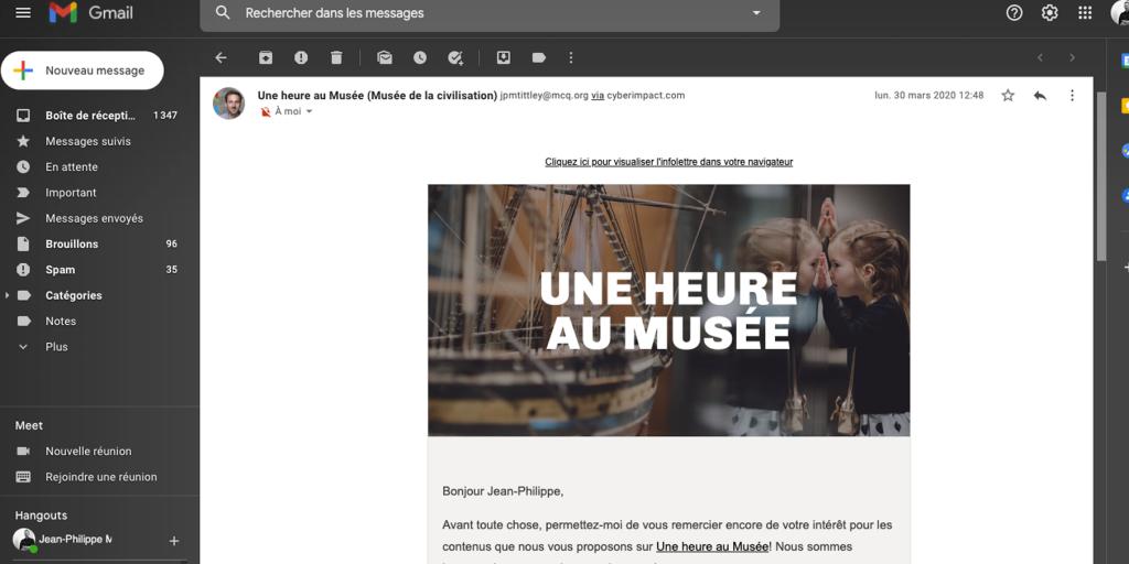 Capture d'écran d'un courriel envoyé aux abonnés d'Une heure au Musée.