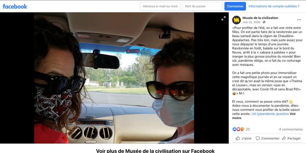 Capture d'écran d'une publication du Musée dans Facebook, montrant deux femmes portant un masque de procédure dans une voiture.